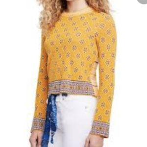 Free People Yellow Design Knit Top